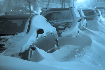 Night of Chicago Emergency Snow Removal with buried cars