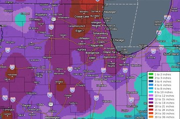 Chicago Weather Map with Snow Prediction